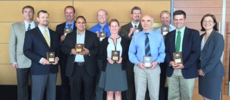 Pictured L to R: Scott Bagley (TAOC Committee), Mark Bundesmann, Edmund Harrington, Sriram Tyagarajan, Timothy Braden, Jacqui Hoffman, Michael Kobierski, Andre Shavnya, Kenneth Engstrom, Thomas Pahutski, and Katherine Lee (2015 TAOC Committee Chair)
