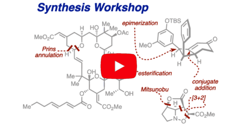 Chemical synthetic background with the embedded words: synthetic workshop